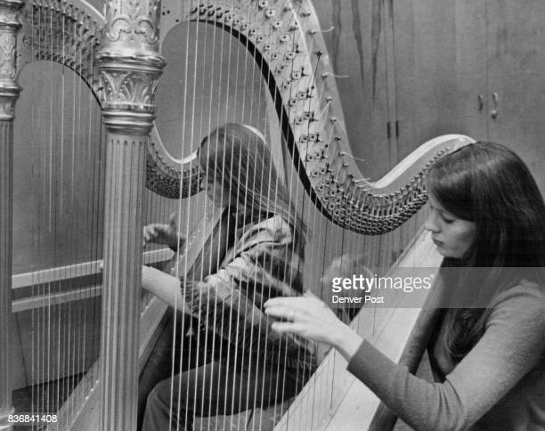 Lakewood High School 1# L to R Penny Currier Maurine O'Kane playing the Harp Credit Denver Post