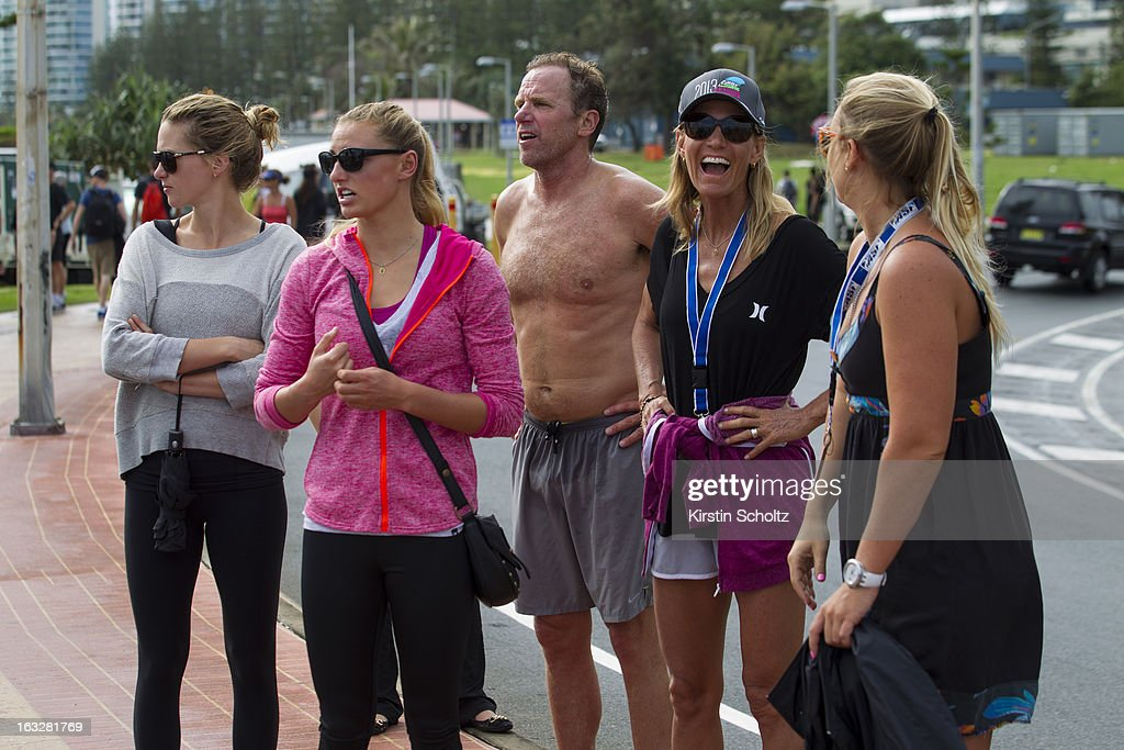 Lakey Petersen of the UNited States (in pink) with her family during the Roxy Pro on March 7, 2013 in Gold Coast, Australia.