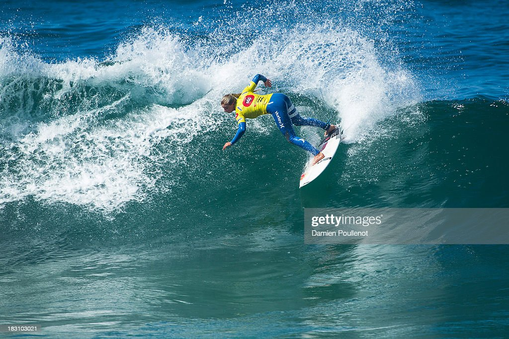 Lakey Peterson of the United States in action as she is defeated by Tyler Wright of Australia in Round 4 of the EDP Girls Pro on October 4, 2013 in Cascais, Portugal.
