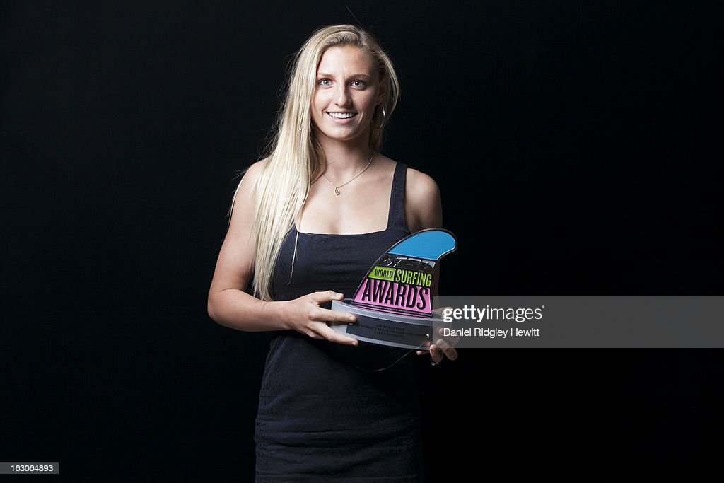 Lakey Peterson of the United States of America with her 2012 Breakthrough Performer of the Year Award Trophy at the 2013 ASP World Surfing Awards on February 28, 2013 in Surfers Paradise, Australia.