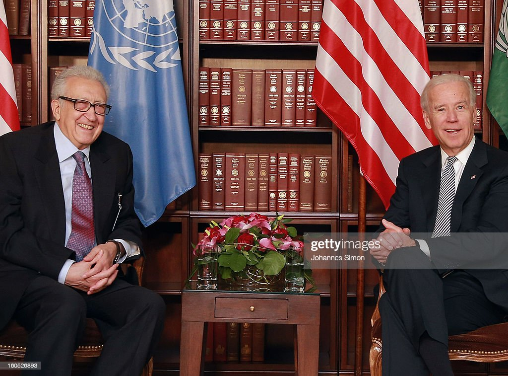 <a gi-track='captionPersonalityLinkClicked' href=/galleries/search?phrase=Lakhdar+Brahimi&family=editorial&specificpeople=226950 ng-click='$event.stopPropagation()'>Lakhdar Brahimi</a> (L), UN joint special representative, and U.S. vice president Joe Biden laugh ahead of a bilateral meeting at Hotel Bayerischer Hof on February 2, 2013 in Munich, Germany. The Munich Security Conference brings together senior figures from around the world to engage in an intensive debate on current and future security challenges and remains the most important independent forum for the exchange of views by international security policy decision-makers.