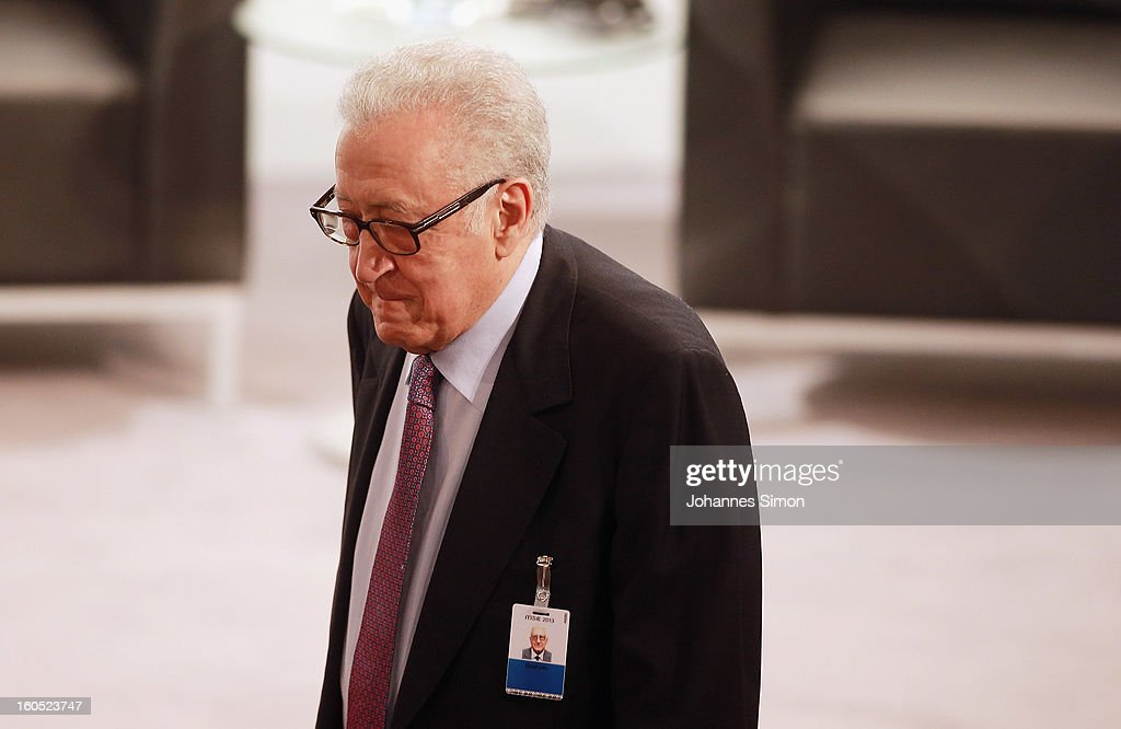 <a gi-track='captionPersonalityLinkClicked' href=/galleries/search?phrase=Lakhdar+Brahimi&family=editorial&specificpeople=226950 ng-click='$event.stopPropagation()'>Lakhdar Brahimi</a>, UN joint special representative, arrives for day 2 of the 49th Munich Security Conference at Hotel Bayerischer Hof on February 2, 2013 in Munich, Germany. The Munich Security Conference brings together senior figures from around the world to engage in an intensive debate on current and future security challenges and remains the most important independent forum for the exchange of views by international security policy decision-makers.