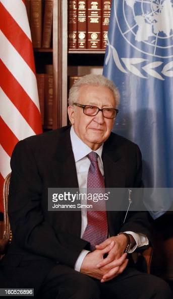 Lakhdar Brahimi UN joint special representative poses ahead of a bilateral meeting with US vice president Joe Biden at Hotel Bayerischer Hof on...
