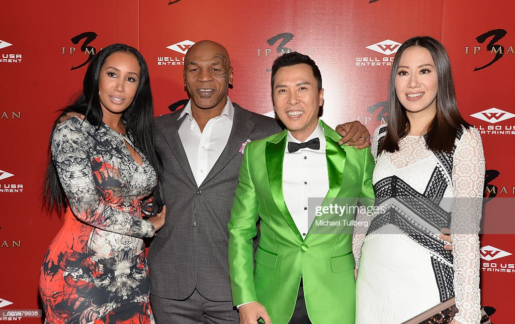 Lakiha Spicer former heavyweight boxing champion Mike Tyson actor Donnie Yen and Cecilia Wang attend the premiere of Well Go USA's 'Ip Man 3' at...