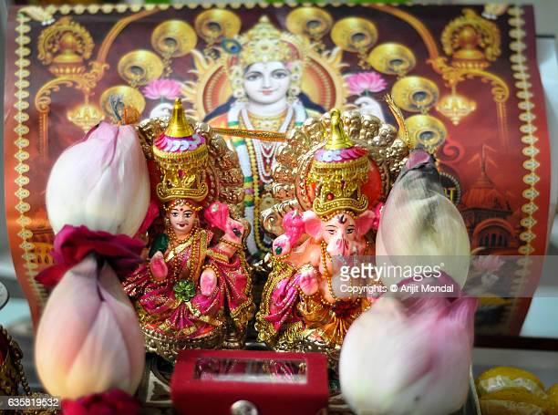 Lakshmi Ganesha Puja on Diwali Celebration in India
