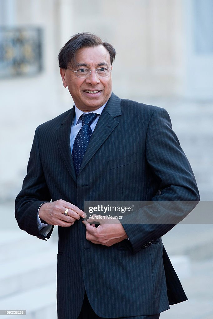 Lakshmi Mittal arrives to the Official Dinner in honor of the Prime Minister of India Narendra Modi at Elysee Palace on April 10 2015 in Paris France...