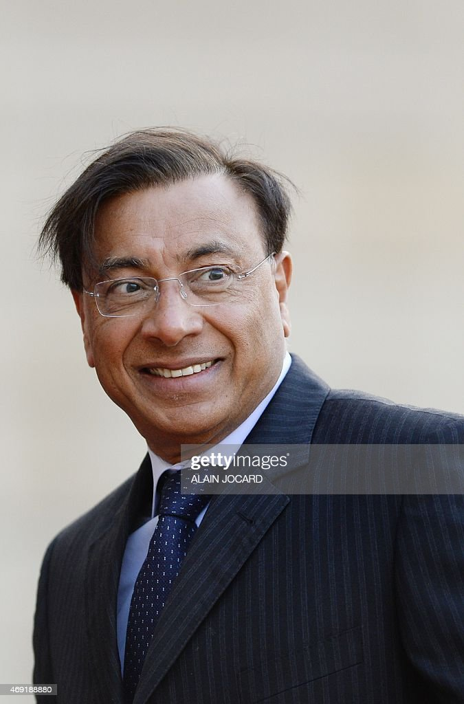 Lakshmi Mittal CEO of ArcelorMittal arrives at the Elysee palace in Paris on April 10 for an official dinner as part of Indian Prime Minister Modi's...