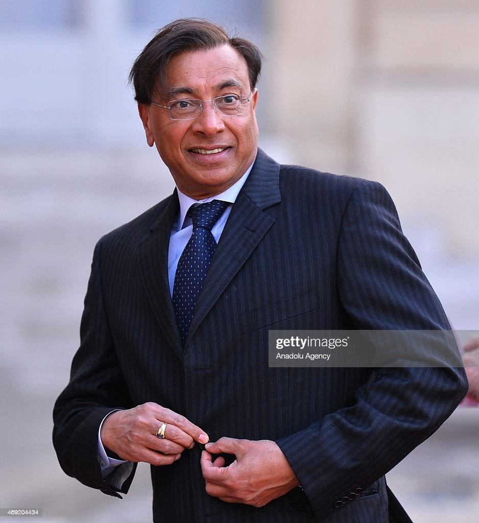 Lakshmi Mittal Chairman and CEO of steel group ArcelorMittal arrives at the Elysee Palace to attend an official dinner in the honor of Indian prime...