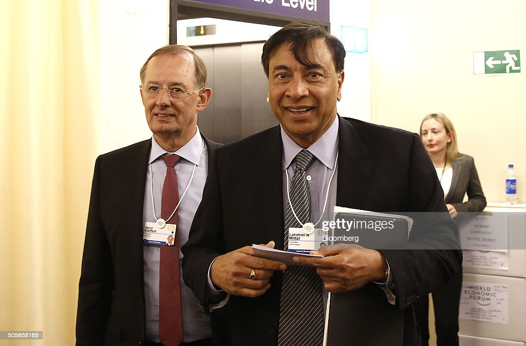 Lakshmi Mittal chief executive officer of ArcelorMittal reacts between sessions during the World Economic Forum in Davos Switzerland on Wednesday Jan...