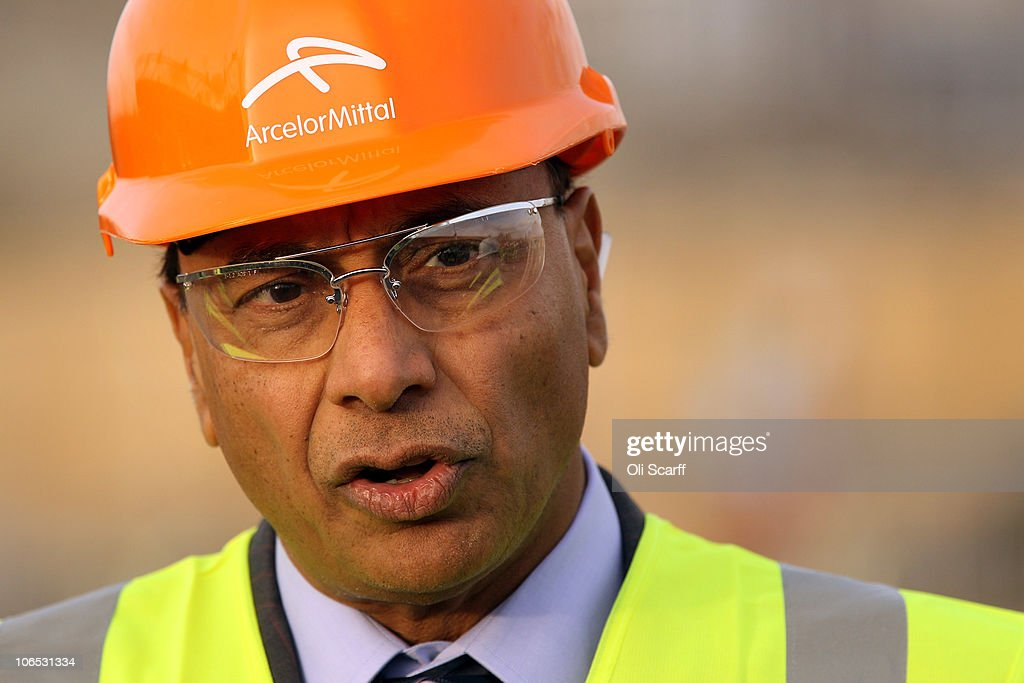 Lakshmi Mittal the CEO and Chairman of ArcelorMittal gives an interview at the spot where the ArcelorMittal Orbit sculpture will stand in the Olympic...