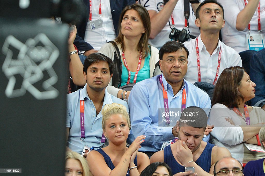 Lakshmi Mittal watches the Men's Basketball game between the United States and France on Day 2 of the London 2012 Olympic Games at Basketball Arena...