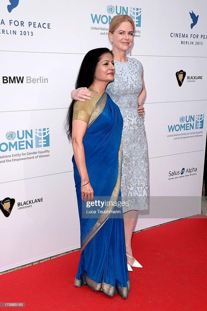 Lakshmi Puri and <a gi-track='captionPersonalityLinkClicked' href=/galleries/search?phrase=Nicole+Kidman&family=editorial&specificpeople=156404 ng-click='$event.stopPropagation()'>Nicole Kidman</a> arrives for the Cinema for Peace UN women honorary dinner at Soho House on July 12, 2013 in Berlin, Germany.