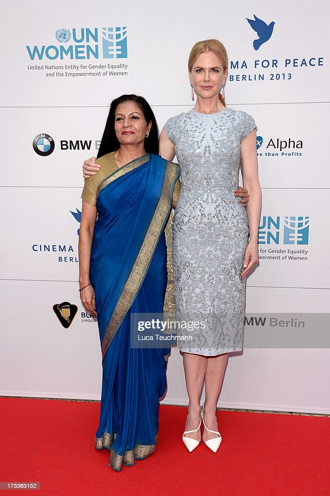 Lakshmi Puri and Nicole Kidman arrives for the Cinema for Peace UN women honorary dinner at Soho House on July 12, 2013 in Berlin, Germany.