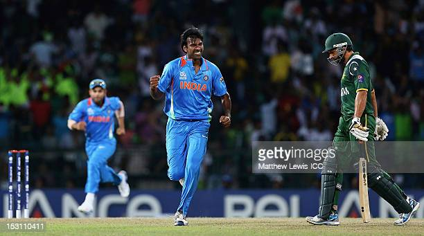 Lakshmipathy Balaji of India celebrates the wicket of Shahid Afridi of Pakistan afte rhe was caught by Suresh Raina during the ICC World Twenty20...