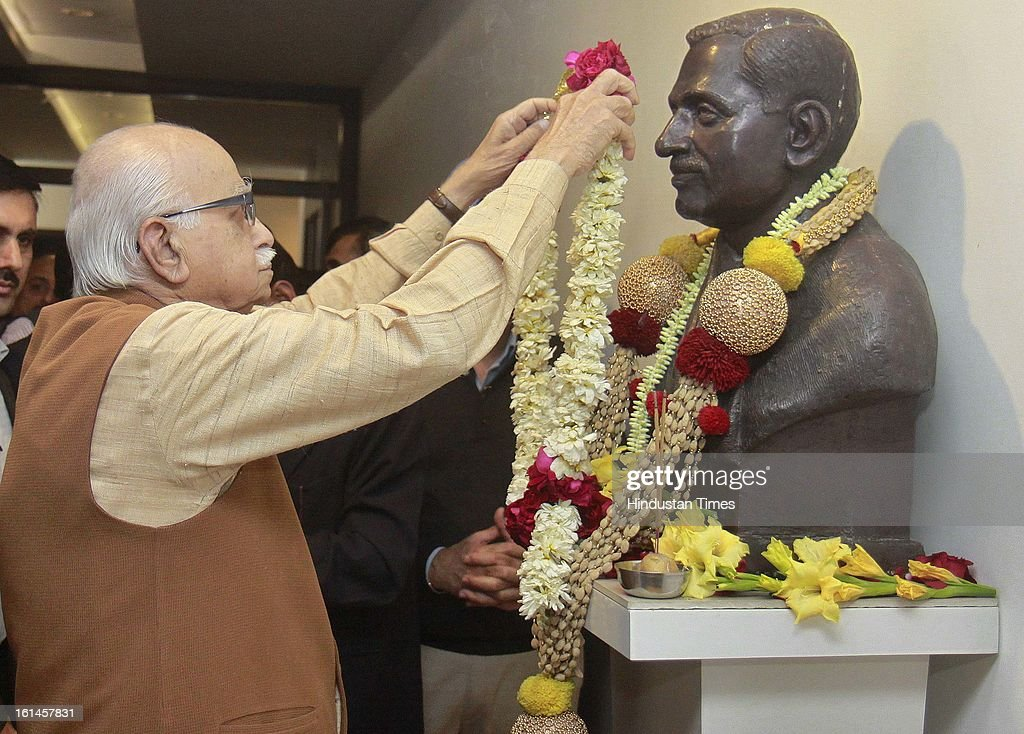 Lal Krishna Advani senior leader of the Bharatiya Janata Party, pay homage's to statue of Pandit Deendayal death anniversary at BJP HQ on February 11, 2013 in New Delhi, India.