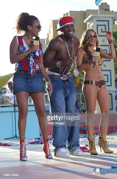 LaLa 50 Cent and Carmen Electra during MTV's 2003 Spring Break 'Fashionably Loud' at Double Tree Surfcomber Hotel in Miami Florida United States
