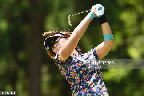 Lala Anai of Japan hits her tee shot on the 12th hole during the second round of the Nipponham Ladies Classics at the Ambix Hakodate Club on July 8...