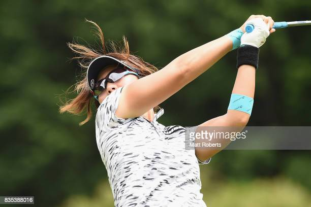 Lala Anai of Japan hits her tee shot on the 12th hole during the second round of the CAT Ladies Golf Tournament HAKONE JAPAN 2017 at the Daihakone...
