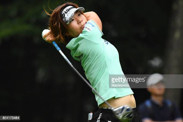 Lala Anai of Japan hits her tee shot on the 18th hole during the third round of the Daito Kentaku Eheyanet Ladies 2017 at the Narusawa Golf Club on...