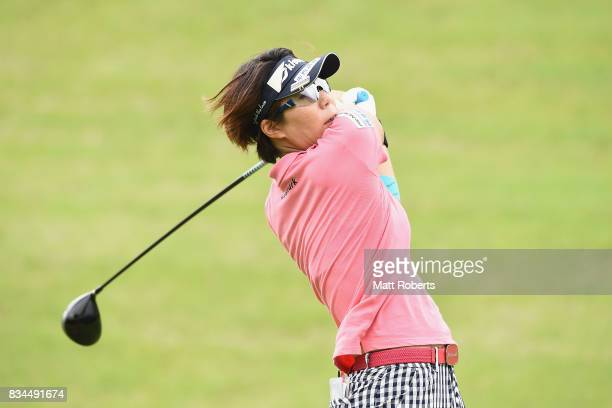 Lala Anai of Japan hits her tee shot on the 2nd hole during the first round of the CAT Ladies Golf Tournament HAKONE JAPAN 2017 at the Daihakone...