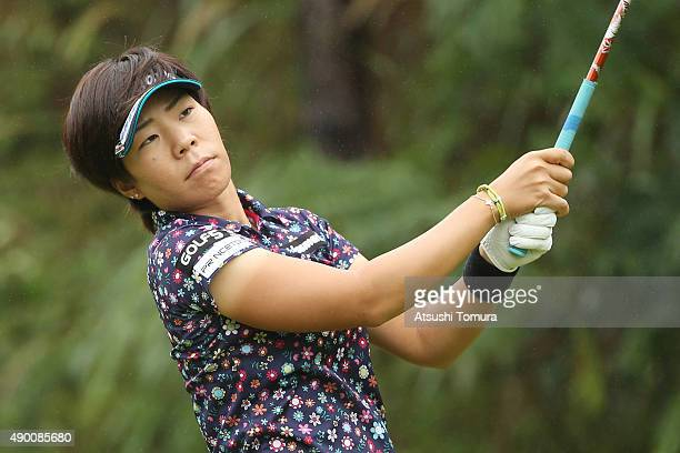 Lala Anai of Japan hits her tee shot on the 2nd hole during the second round of the Miyagi TV Cup Dunlop Ladies Open 2015 at the Rifu Golf Club on...