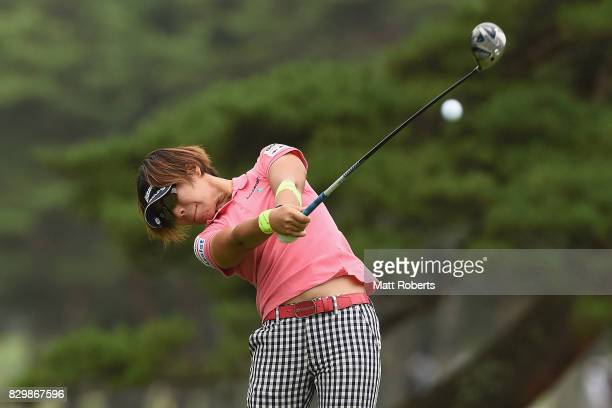 Lala Anai of Japan hits her tee shot on the 4th hole during the first round of the NEC Karuizawa 72 Golf Tournament 2017 at the Karuizawa 72 Golf...