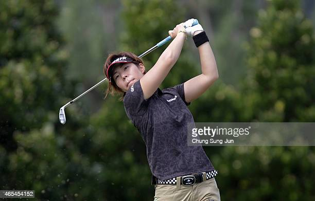 Lala Anai of Japan plays a tee shot during the second round of the Daikin Orchid Ladies Golf Tournament at the Ryukyu Golf Club on March 7 2015 in...