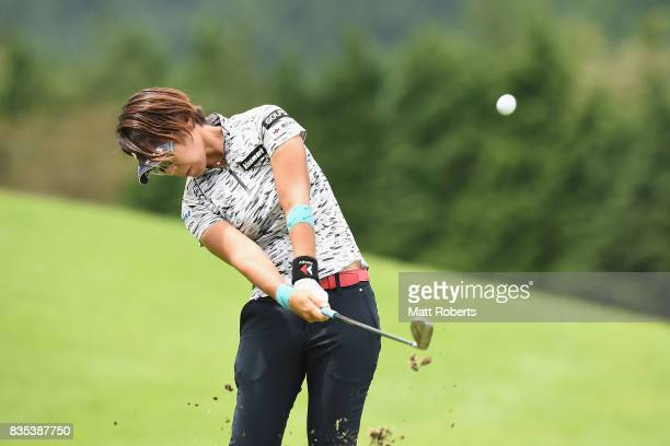 Lala Anai of Japan plays her approach shot on the 11th hole during the second round of the CAT Ladies Golf Tournament HAKONE JAPAN 2017 at the...