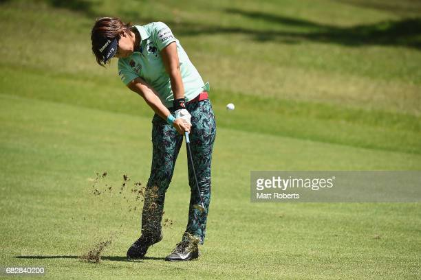 Lala Anai of Japan plays her approach shot on the 17th hole during the final round of the HokennoMadoguchi Ladies at the Fukuoka Country Club Wajiro...