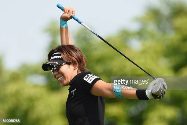 Lala Anai of Japan smiles during the first round of the Nipponham Ladies Classics at the Ambix Hakodate Club on July 7 2017 in Hokuto Hokkaido Japan