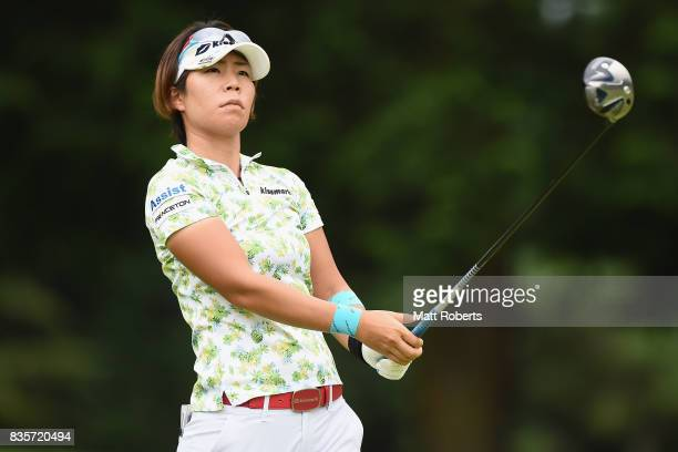 Lala Anai of Japan watches her tee shot on the 4th hole during the final round of the CAT Ladies Golf Tournament HAKONE JAPAN 2017 at the Daihakone...
