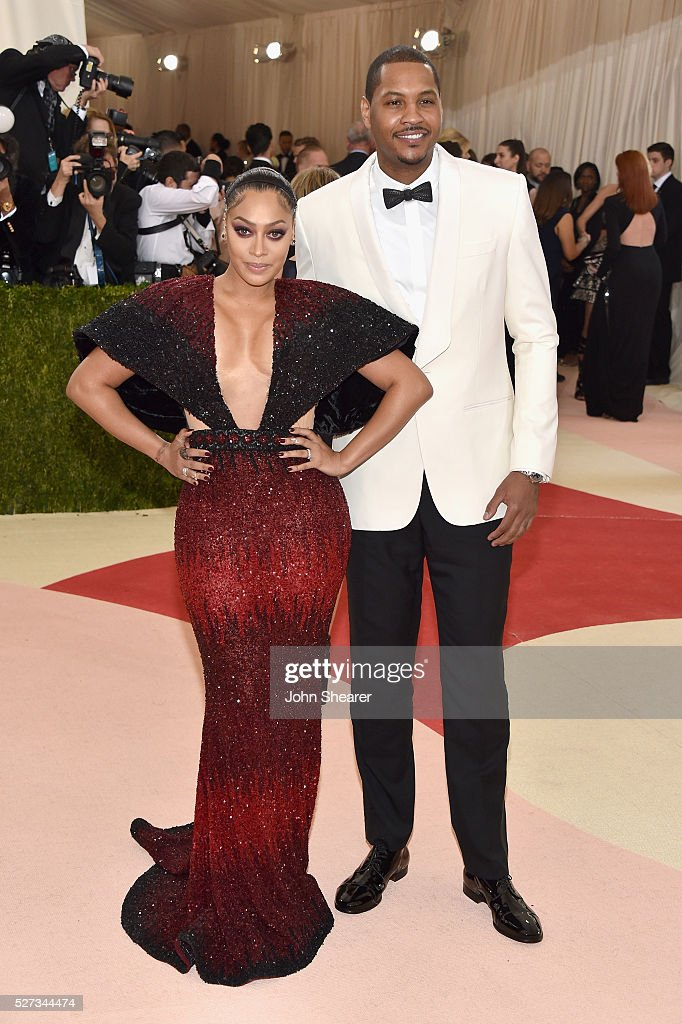 LaLa Anthony and Carmelo Anthony attend the 'Manus x Machina: Fashion In An Age Of Technology' Costume Institute Gala at Metropolitan Museum of Art on May 2, 2016 in New York City.