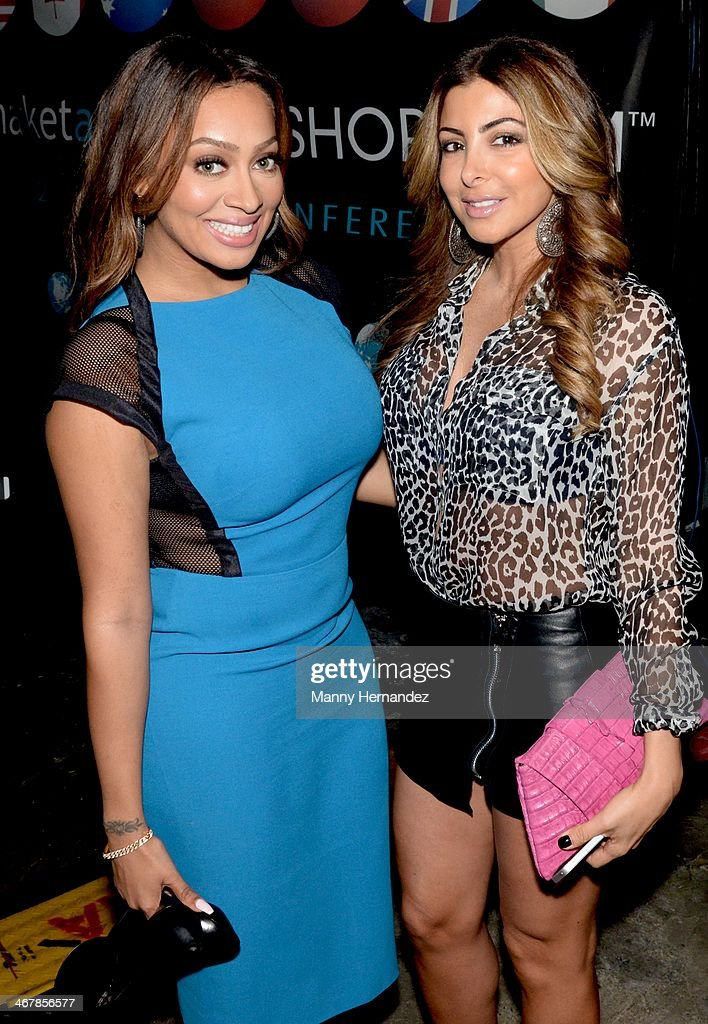 Lala Anthony and Larsa Pippen at the 2014 Market America World Conference at American Airlines Arena on February 8, 2014 in Miami, Florida.