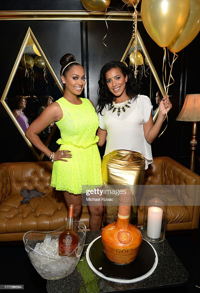 LaLa Anthony, left, and <a gi-track='captionPersonalityLinkClicked' href=/galleries/search?phrase=Julissa+Bermudez&family=editorial&specificpeople=778932 ng-click='$event.stopPropagation()'>Julissa Bermudez</a> celebrate the one year anniversary of Courvoisier Gold at Bootsy Bellows on August 22, 2013 in West Hollywood, California.