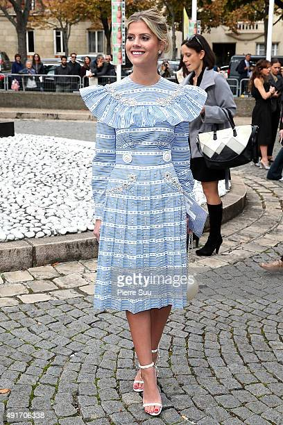 Lala Rudge arrives at the Miu Miu show as part of the Paris Fashion Week Womenswear Spring/Summer 2016 on October 7 2015 in Paris France