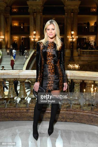 Lala Rudge attends the Balmain show as part of the Paris Fashion Week Womenswear Spring/Summer 2018 on September 28 2017 in Paris France