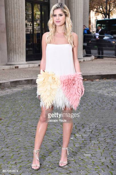 Lala Rudge is seen arriving at Miu Miu show during Paris Fashion Week Womenswear Spring/Summer 2018 on October 3 2017 in Paris France