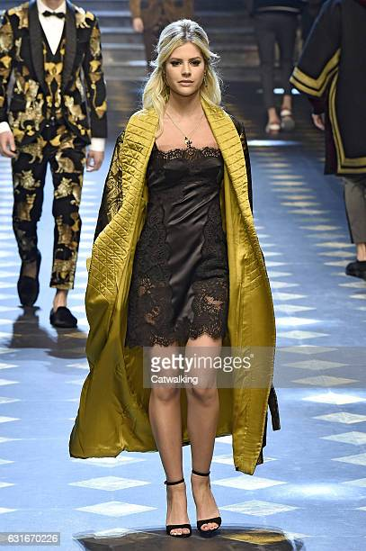 Lala Rudge walks the runway at the Dolce Gabbana Autumn Winter 2017 fashion show during Milan Menswear Fashion Week on January 14 2017 in Milan Italy