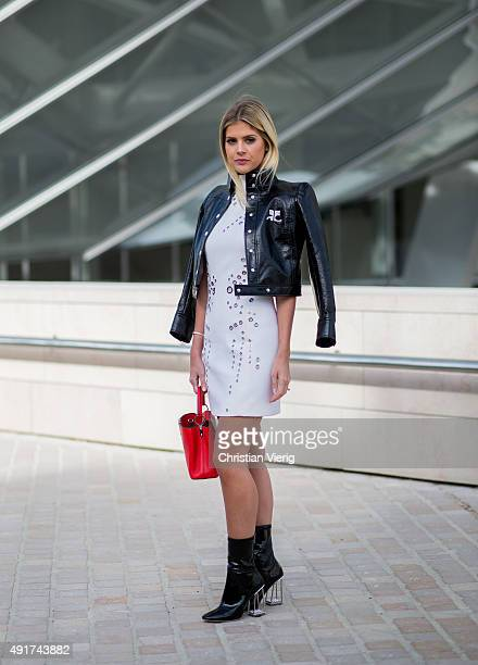 Lala Rudge wearing Dior boots and Louis Vuitton bagat Louis Vuitton during the Paris Fashion Week Womenswear Spring/Summer 2016 on Oktober 7 2015 in...
