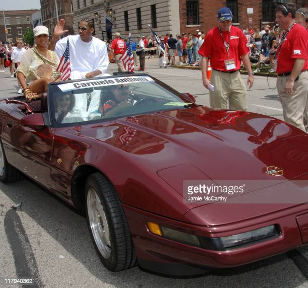 Lala Vasquez and Carmelo Anthony during 90th Running of The Indianapolis 500 The Indy 500 All Star Festival Parade in Indianapolis Indiana United...