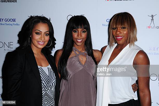 Lala Vasquez Kelly Rowland and Serena Williams arrive to the launch of Kelly Rowland's 'I Heart My Girlfriends' charity on March 28 2010 in Miami...