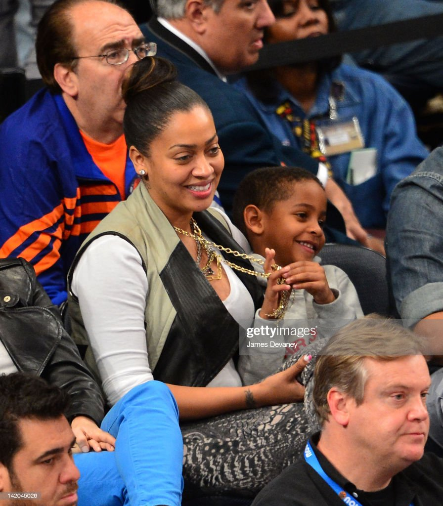 Lala Vazquez and her son Kiyan Anthony attend the Orlando Magic vs New York Knicks game at Madison Square Garden on March 28, 2012 in New York City.