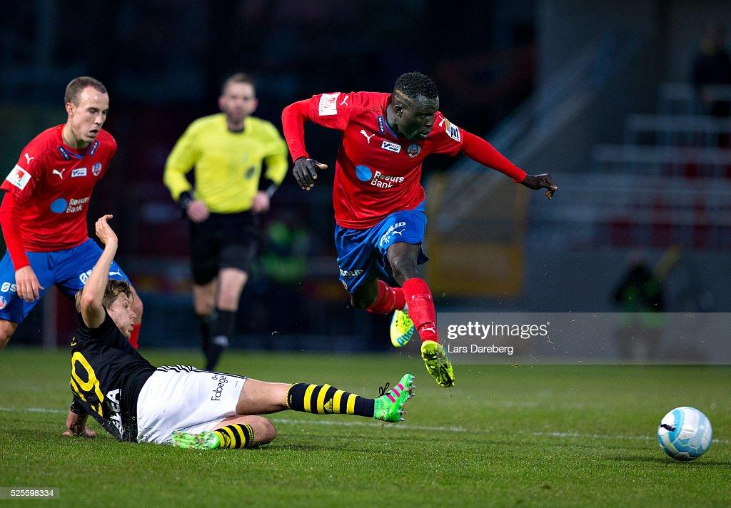 Lalawele Atakora of Helsingborgs IF during the Allsvenskan match between Helsingborgs IF and AIK at Olympia on April 28, 2016 in Helsingborg, Sweden.