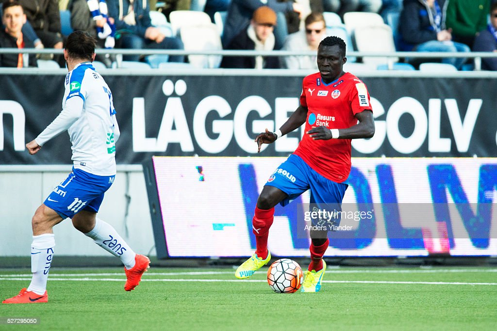 Lalawele Atakora of Helsingborgs IF in action during the Allsvenskan match between IFK Norrkoping and Helsingborgs IF at Ostgotaporten on May 2, 2016 in Norrkoping, Sweden.