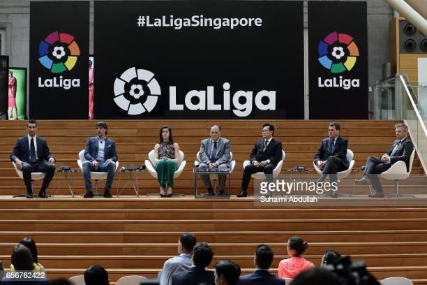 LaLiga ambassadors Fernando Sanz Fernando Morientes and Carolina Marin President of LaLiga Javier Tebas Provisional Council President of Football...