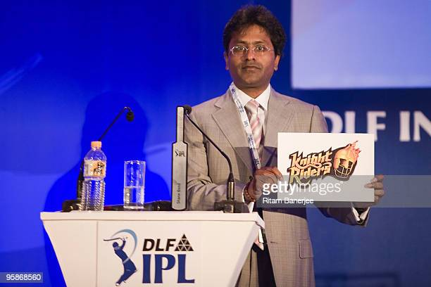 Lalit Modi Chairman and Commissioner of Indian Premier League on stage during the IPL Auction 2010 on January 19 2010 in Mumbai India