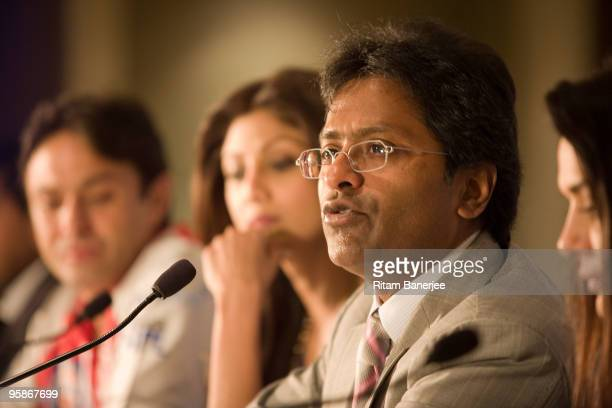 Lalit Modi Chairman and Commissioner of IPL speaks at a press confernce during the Indian Premier League Auction 2010 on January 19 2010 in Mumbai...