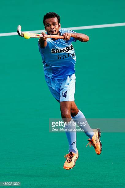 Lalit Upadhyay in action during the Fintro Hockey World League SemiFinal match between India and Belgium held at KHC Dragons Gemeentepark Stadium on...