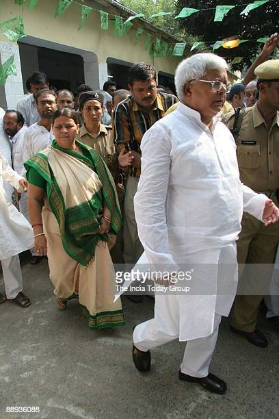 Laloo Prasad Yadav Union Cabinet Minister of Railway and Chief of RJD with his wife Rabri Devi former Chief Minister of Bihar at Patna in Bihar India