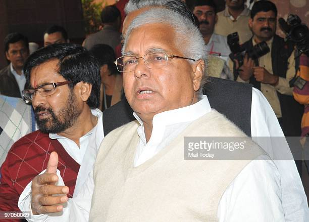 Lalu Prasad Yadav arrives at Parliament House to attend the Rail Budget 201011 presentation in New Delhi on Wednesday February 24 2010